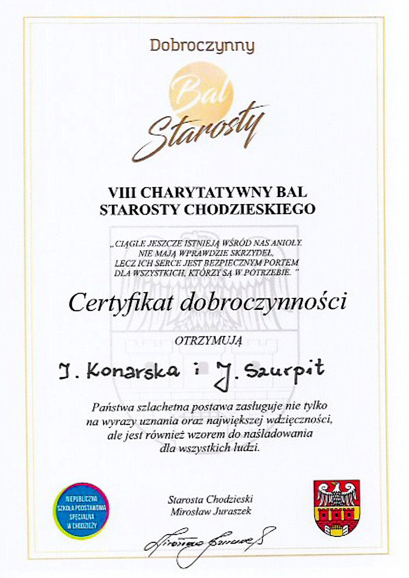 Firma NEO INVEST fundatorem nagród VIII Charytatywnego Balu Starosty Chodzieskiego