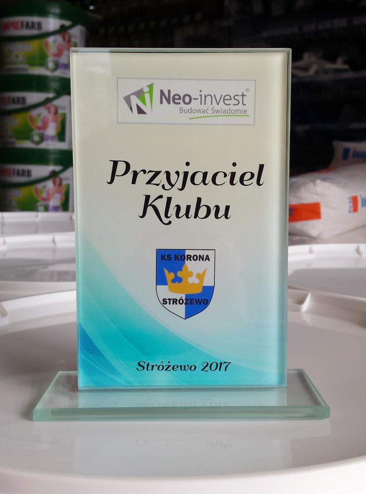 Firma NEO INVEST sp. z o.o. z Budzynia jest sponsorem drużyny piłkarskiej KORONA STRÓŻEWO.