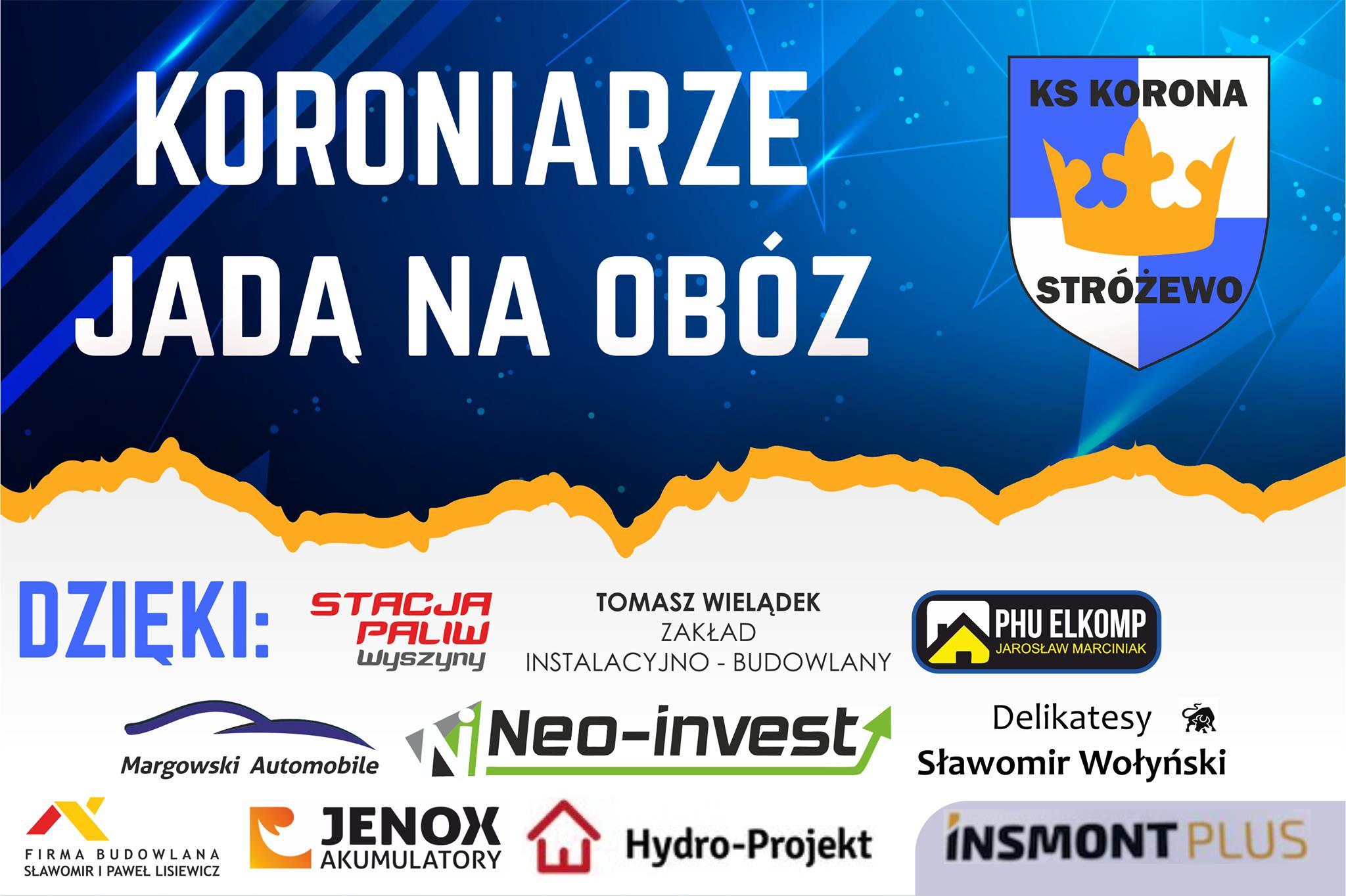 Firma NEO INVEST sponsorem wyjadu drużyny KORONA STRÓŻEWO na obóz